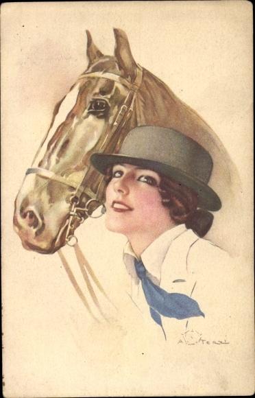 Künstler Ak Terzi, Frau mit Hut, Pferd