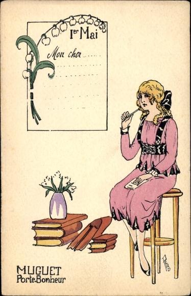Künstler Ak 1er Mai, Muguet, Porte Bonheur, blonde Frau, Bücher