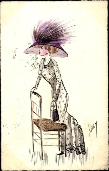 Künstler Ak Kaby, Frau in langem Kleid mit Hut