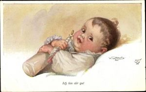 Künstler Ak Fialkowska, Wally, Ich bin dir gut, Baby mit Milchflasche, Primus 1145a