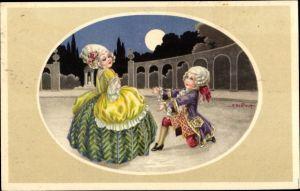 Künstler Ak Bertiglia, Aurelio, Mann kniet vor einer Frau
