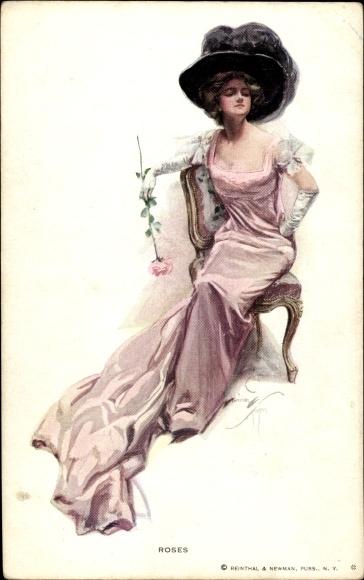 Künstler Ak Fisher, Harrison, Frau in rosa Kleid mit Hut