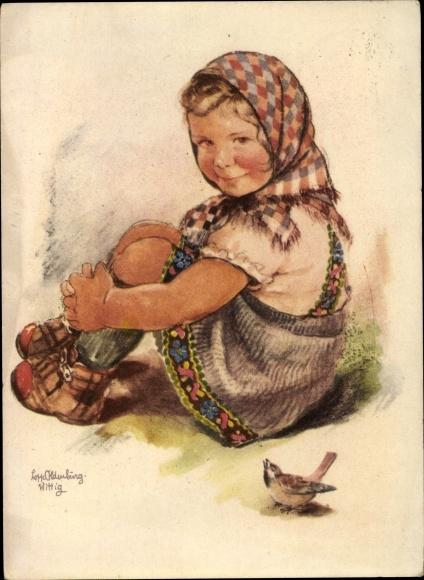 Künstler Ak Oldenburg Wittig, Lotte, Mädchen mit Kopftuch, Spatz