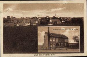 Ak Büchel in der Eifel, Bäckerei u. Handlung v. W. Felser, Panorama vom Ort