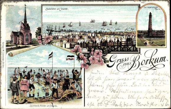 Litho Insel Borkum Ostfriesland, Ref. Kirche, Der neue Leuchtturm, Badeleben am Strand, Kinder