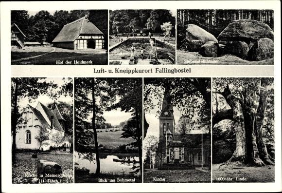 Ak Bad Fallingbostel Lüneburger Heide, Hof d. Heidemark, Siebensteinhäuser, Kirche, 1000j. Linde