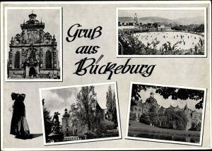Ak Bückeburg Kreis Schaumburg Niedersachsen, Schloss, Freibad, Kirche, Frau in Bückeburger Tracht