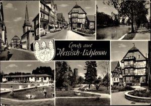 Ak Hessisch Lichtenau in Hessen, Wappen, Straßenpartie, Freibad, Park, Uferpartie, Fachwerkhäuser