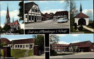 Ak Altenberge in Nordrhein Westfalen, St. Johannes Kirche, Kapelle Waltrup, Kindergarten, Schule