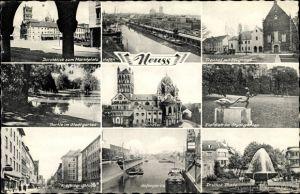 Ak Neuss am Rhein, Krefelder Straße, Drusus Platz, Zeughaus, Münster, Hafen, Marktplatz, Stadtgarten
