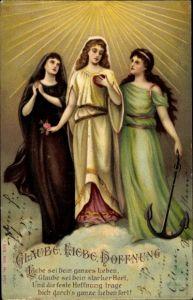 Litho Allegorie, Glaube, Liebe, Hoffnung, Anker, Frauen