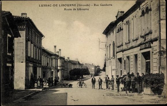 Ak Lussac de Libourne Gironde, Rue Gambetta, Route de Libourne