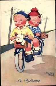 Künstler Ak Mallet, Beatrice, Le Cyclisme, Junge, Mädchen, Fahrrad, Hund