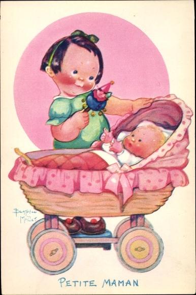 Künstler Ak Mallet, Beatrice, Mädchen, Baby, Kinderwagen, Petite Maman
