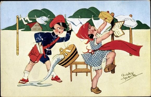 Künstler Ak Spark, Chicky, Mädchen hängt Wäsche auf, Postbote