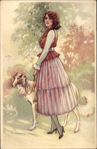 Künstler Ak Corbella, T., Frau mit Windhund an der Leine