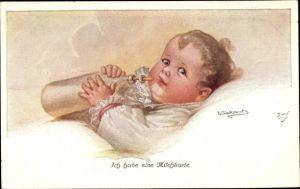Künstler Ak Fialkowska, Wally, Ich habe eine Milchkarte, Baby, Milchflasche, Primus 1145a