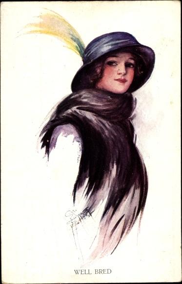 Künstler Ak Barber, Court, Portrait einer Frau mit Hut, Well Bred