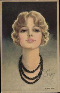 Künstler Ak Christy, F. Earl, Portrait einer blonden Frau mit Perlenkette