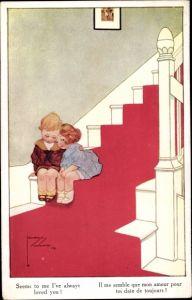Künstler Ak Wood, Lawson, Junge und Mädchen auf einer Treppe