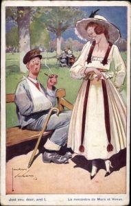 Künstler Ak Wood, Lawson, Verwundeter Mann mit Pfeife, Frau mit Hut