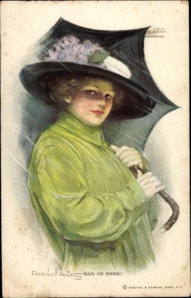 Künstler Ak Underwood, Clarence, Rain or Shine, Frau mit Hut und Regenschirm