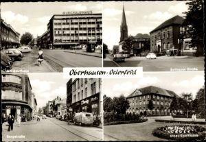 Ak Oberhausen Osterfeld im Ruhrgebiet, Glückaufhaus, Bottroper Straße, Bergstraße, Städt. Sparkasse