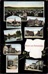 Ak Holzminden Niedersachsen, Weserpartie, Baugewerkschulplatz, Halbemondstraße, Der mittlere Teich