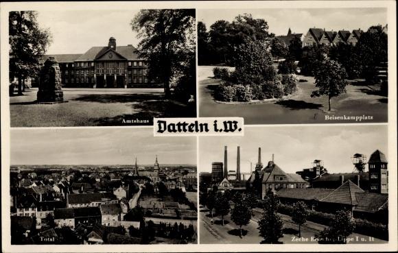 Ak Datteln im Ruhrgebiet, Amtshaus, Beisenkampplatz, Zeche Emscher Lippe