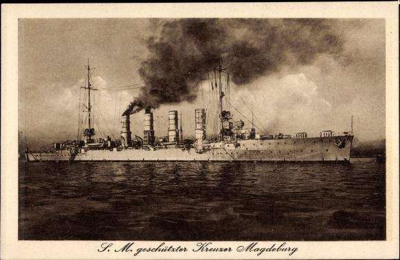 Ak Deutsches Kriegsschiff, SMS Magdeburg, Geschützter Kreuzer, Kaiserliche Marine