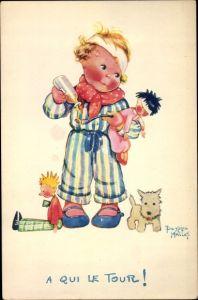 Künstler Ak Mallet, Beatrice, Kind mit Puppen
