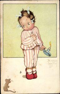 Künstler Ak Mallet, Beatrice, Kind im Nachthemd, Maus