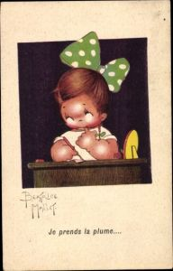 Künstler Ak Mallet, Beatrice, Mädchen mit Haarschleife, Schreibfeder