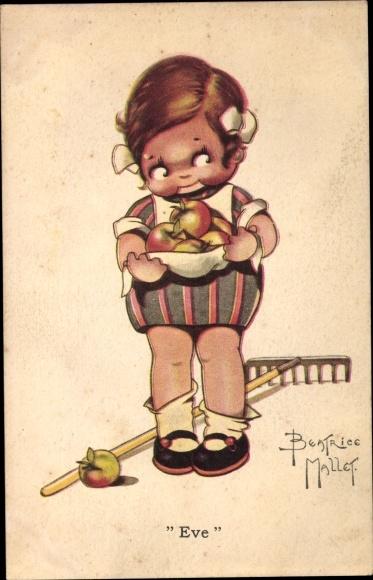 Künstler Ak Mallet, Beatrice, Mädchen mit Äpfeln