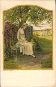 Künstler Ak Ebner, Pauli, Frau in langem Kleid auf einer Bank