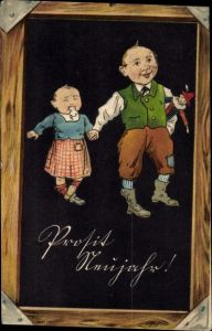 Präge Litho Glückwunsch Neujahr, Mann mit Kind und Puppe, Tafel