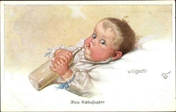 Künstler Ak Fialkowska, Wally, Mein Frühschoppen, Baby, Milchflasche, Primus 1145