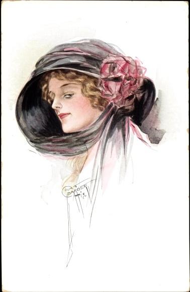 Künstler Ak Barber, Court, Portrait einer Frau mit Hut