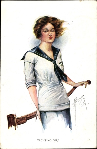 Künstler Ak Barber, Court, Yachting Girl, Frau in Matrosenanzug