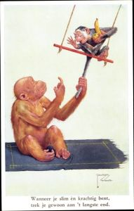 Künstler Ak Wood, Lawson, Zwei Affen, Schaukel, Banane