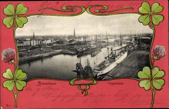 Jugendstil Ak Bremerhaven, Blick auf den Ort mit Hafen, Dampfer, Fliegeraufnahme