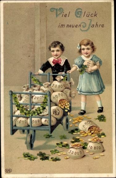 Präge Ak Glückwunsch Neujahr, Geldsäcke, Kleeblätter