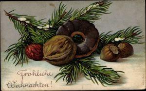 Präge Litho Frohe Weihnachten, Lebkuchen, Tannenzweig, Nüsse