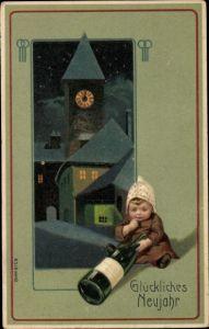 Präge Passepartout Litho Glückwunsch Neujahr, Sektflasche, Kind, Kirchuhr, Nacht