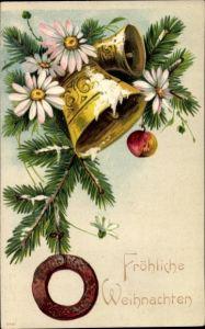 Präge Litho Frohe Weihnachten, Glocke, Tannenzweig, Lebkuchen, Apfel