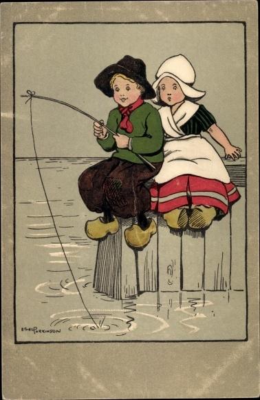 Künstler Ak Parkinson, Ethel, Kinder, Angeln, Niederländische Tracht