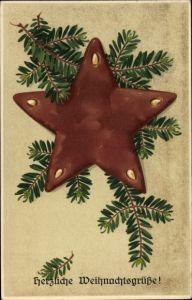 Präge Litho Frohe Weihnachten, Lebkuchen, Stern, Tannenzweig