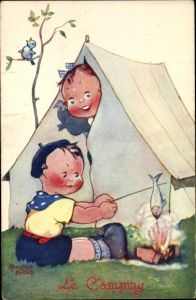 Künstler Ak Mallet, Beatrice, Kinder am Lagerfeuer, Zelt