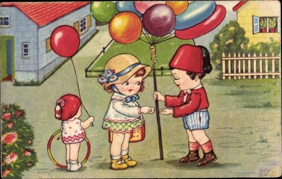 Künstler Ak Boriss, Margret, Mädchen kauft Luftballons, Amag 0304