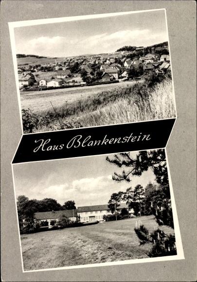 Ak Gladenbach Hessen, Haus Blankenstein, Blick auf den Ort
